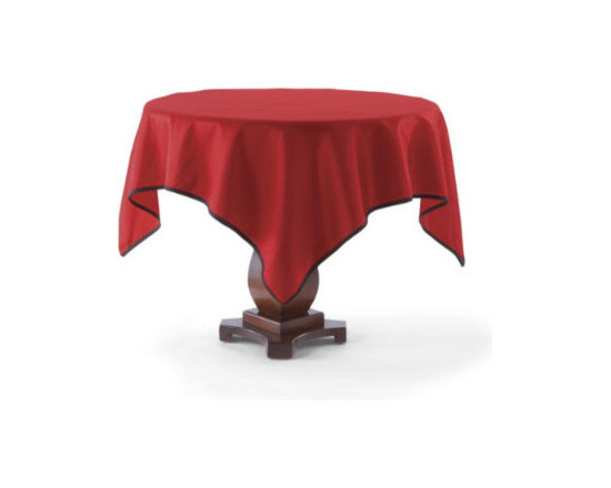 Grandin Road - Faux Dupioni Table Topper - Traditional red with modern black cording is perfect for the party. Polyester/nylon blend; looks and feels like silk. Table topper boasts a green corded trim. Machine washable. Our Faux Dupioni Table Topper is an excellent way to set the stage for a beautiful holiday, without unraveling your budget. In true Christmas red with black cording, this tabletop covering looks and feels like silk. This cheerful topper mixes handsomely with all the elements of our Merry and Bright theme and is a great companion to our Harlequin Tablecloth.. . . . Imported.