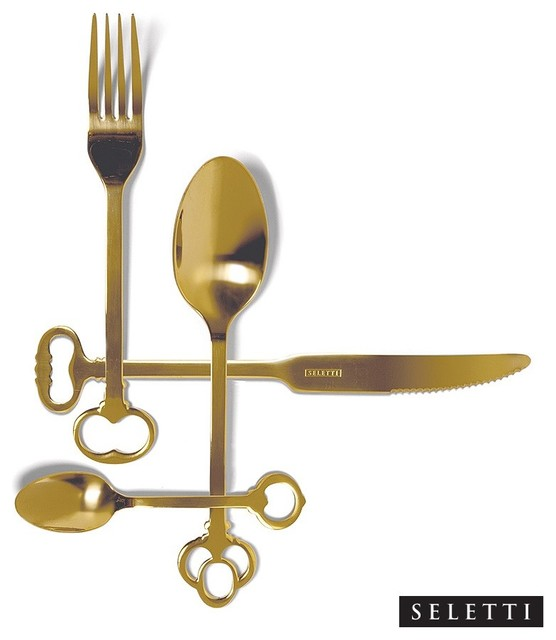 Seletti Keytlery, Gold contemporary-flatware