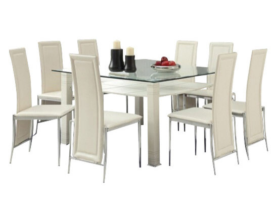 """Acme - 9-Piece Riggan Collection Modern Style Cream Leather Dinette Set - 9-Piece Riggan collection modern style cream leather like upholstered chairs square glass top dinette set . This set features a glass top table with metal base and glass top , 8 - side chairs with a cream leather like upholstery. Table measures 51"""" x 55"""" . Chairs measure 39"""" H at the back. Some assembly required."""