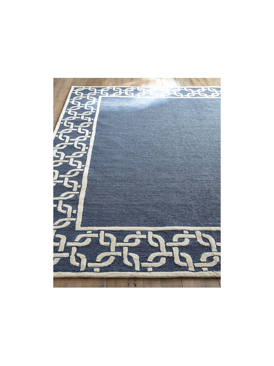 "Horchow - ""Border Link"" Outdoor Rug - Big and bold, an oversized chain-link border adds dimension to the solid ground of this durable handmade rug. Made of polypropylene/acrylic blend. Outdoor safe. Great for high traffic areas indoors. Sizes are approximate. Imported. See our Rug..."