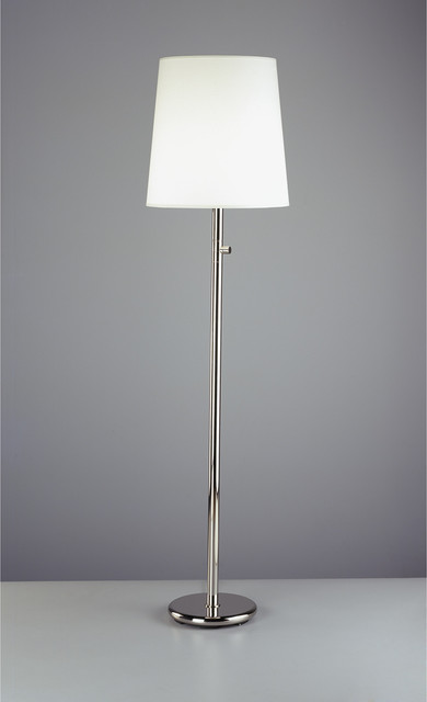 Robert Abbey Rico Espinet Buster Chica Floor Lamp in Polished Nickel-White Shade traditional-floor-lamps