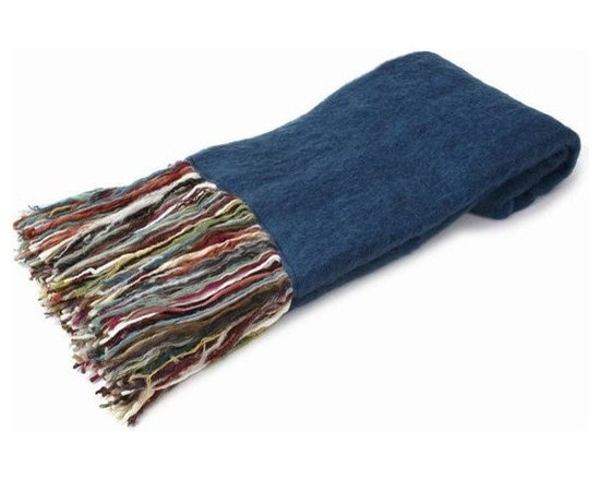Belle & June - Blue Mohair Throw - Let it all hang out with this eclectic throw that is just as cool as it is cozy. Made from recycled yarn in angora fashion, this fine fabric with its vibrant, multicolored fringe will fit into your home décor while making a bold statement with bohemian style.