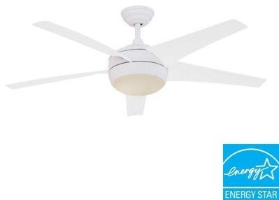 Indoor Fan and Light Kit: Unbranded Windward IV 52 in. Matte White Ceiling Fan 2 contemporary-ceiling-fans