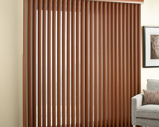 "3 1/2"" Embossed Faux Wood Vertical Blinds -"