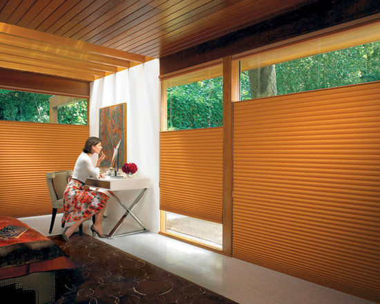 Duette Architella Honeycomb Shades with EasyRise - Duette Architella Honeycomb Shades by Hunter Douglas come in a variety of colours and fabrics to suit every style! Shown here with the Top-Down/Bottom-Up feature, which allows you to have sunlight while having privacy where you want it! Shown here with the EasyRise operating system.