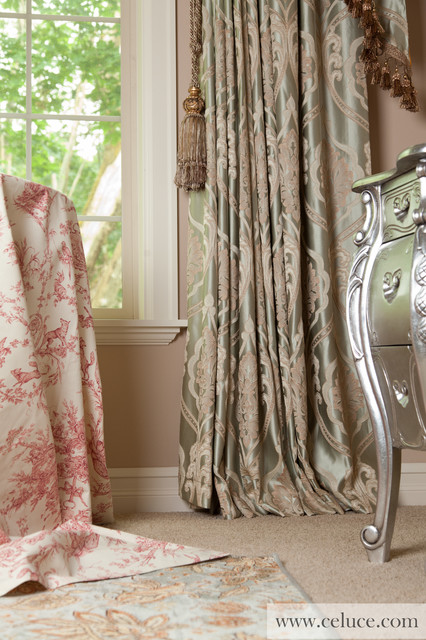 Emerald Bouquet Valance Curtains With Swags And Cascades By Traditional Seattle