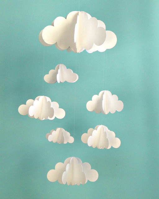 Clouds Hanging Baby Mobile by Gosh & Golly contemporary-baby-mobiles