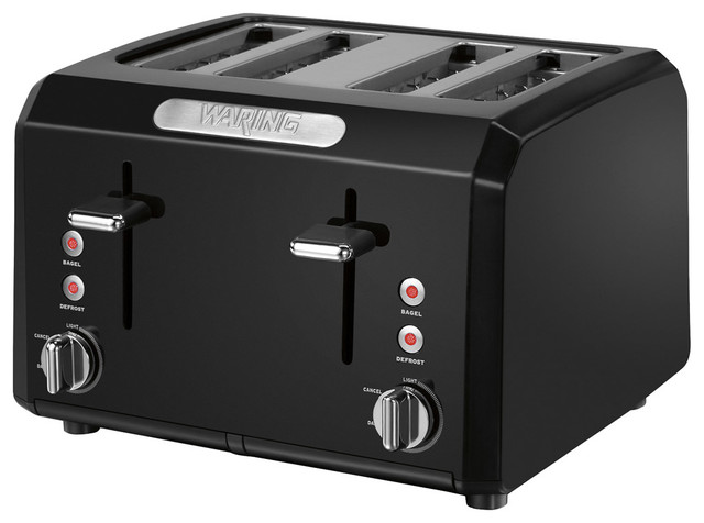 Waring Pro 1800-Watt 4-Slice Cool-Touch Toaster, Black contemporary-toasters
