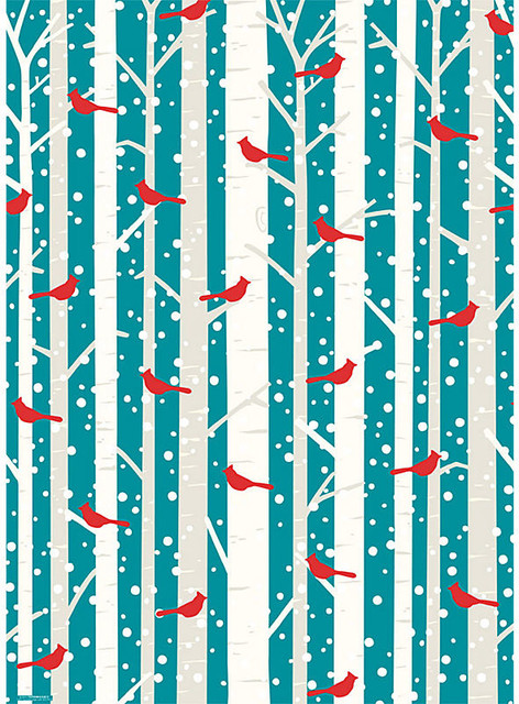 Cardinal In Tree Peacock Wrapping Paper Contemporary