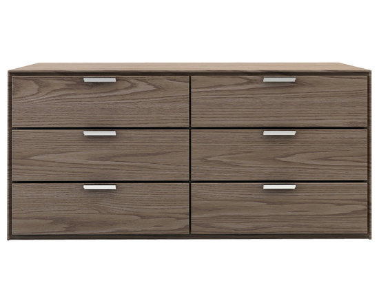 Modloft - Thompson Dresser, Walnut - The Thompson six-drawer split dresser with chrome handles matches any modern bedroom decor. European soft-closing glides enable effortless drawer movement. Interior of drawers elegantly lined in light beige linenboard. Available in wenge or walnut wood finishes. Also available in white lacquer finish. No assembly required. Imported.