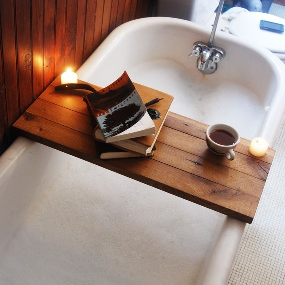 Reclaimed Wood Tub Caddy by Peg and Awl traditional shower caddies