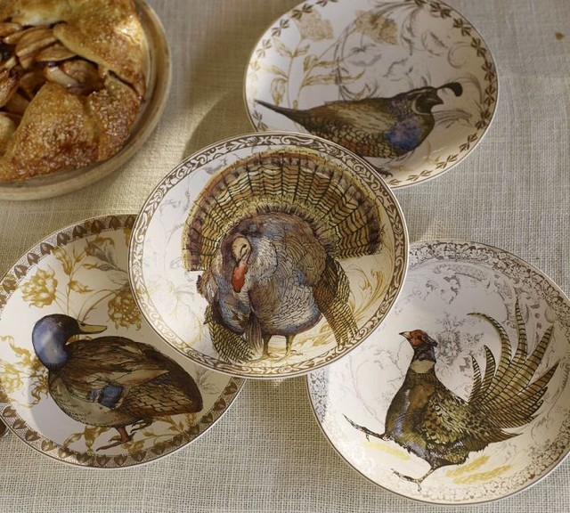 Thanksgiving Bird Salad Plates Traditional Holiday