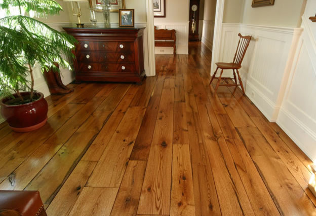 Reclaimed chestnut wide plank flooring traditional for Reclaimed wood new york