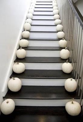 Modern White Pumpkins Lining Black Staircase modern
