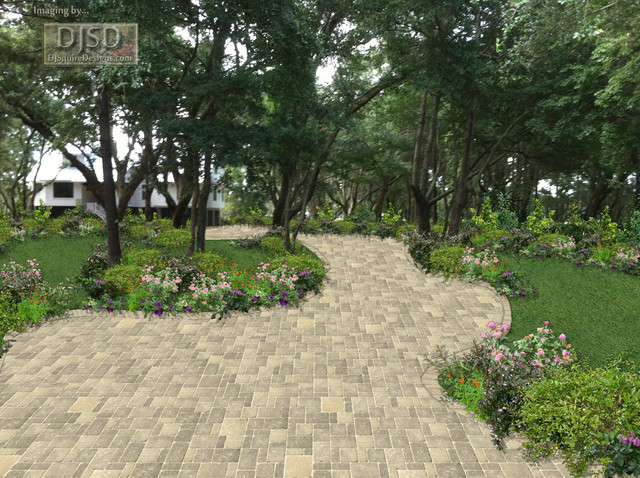 2d Dirt Road Paver Driveway Curved Option4 Traditional