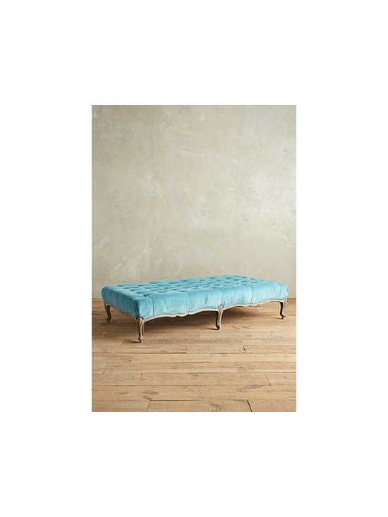 Anthropologie - Tufted Viola Ottoman - Cotton velvet upholstery; foam fill. Webbed seat construction. Handcarved mango wood frame; sandblast finished legs. Professionally clean. Imported.