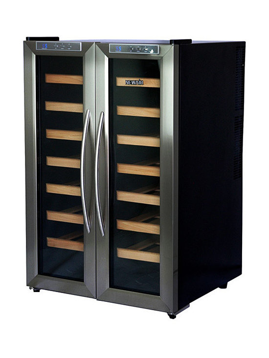 AW-321ED - 32 Bottle Cooler - Get compact, flexible storage for your wine collection with the NewAir AW-321ED dual zone wine cooler. This attractive unit features side-by-side compartments with dual zone controls so you can keep both white and red wines at their ideal temperatures.
