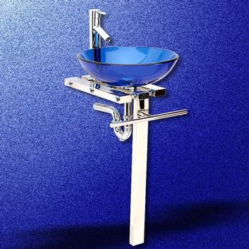 Stainless Blue Cristallo Glass Pedestal Sink   Traditional   Bathroom .
