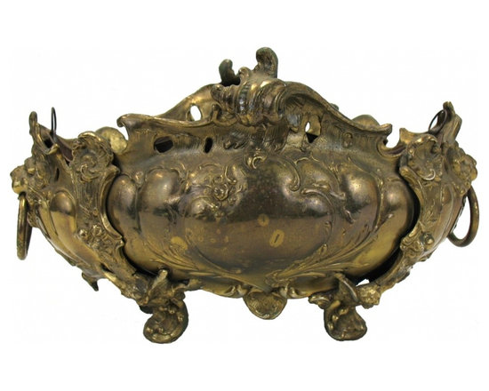 French Brass Jardiniere - Wonderful early 1900's French jardiniere with original liner has many details.
