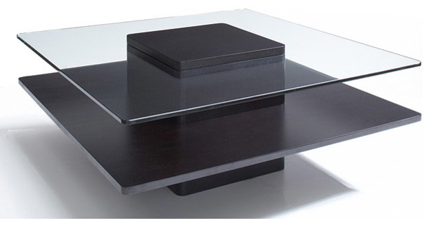 Glass Dark Coffee Wood 40 Inch Coffee Table Contemporary Coffee