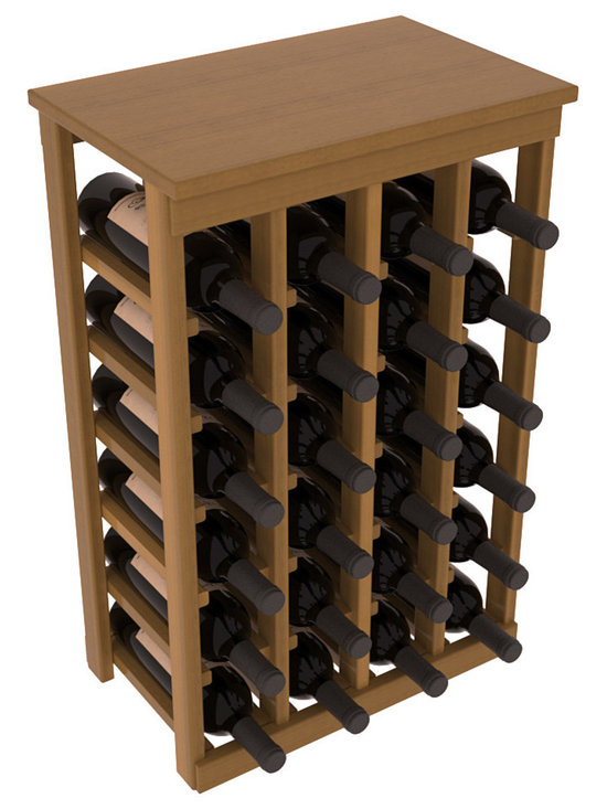 Wine Racks America - 24 Bottle Kitchen Wine Rack in Premium Redwood, Oak Stain + Satin Finish - Petite but strong, this small wine rack is the best choice for converting tiny areas into big wine storage. The solid wood top excels as a table for wine accessories, small plants, or whatever benefits the location. Store 2 cases of wine in a space smaller than most televisions!