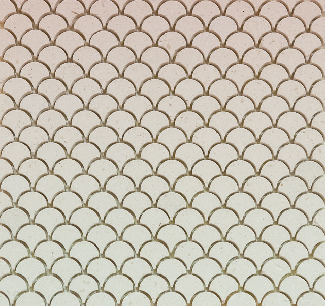 Mini Curve Appeal - Ivory Limestone - Fan Shaped Mosaic, 1 Square Ft. contemporary-floor-tiles