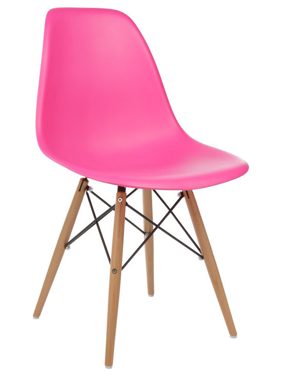 Ariel - Eames-Style Molded Pink Plastic Dining Shell Chair with Wood Eiffel Legs - A truly comfortable chair, the shell dining chair sports a futuristic yet retro look at the same time. Constructed of heavy duty matte finish seats, this stylish chair is perfect for the home office, training room, or play area. Also available in multiple colors.