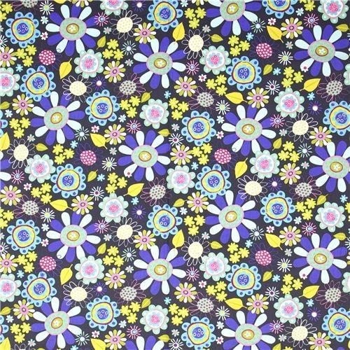 grey Robert Kaufman fabric with colourful flowers fabric