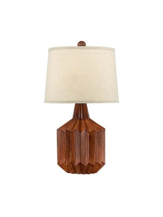 Manitoga Wood Finish Cog Table Lamp -