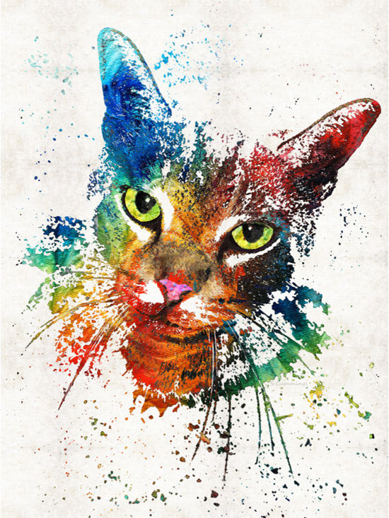 Animals, Fish and Birds - Colorful Cat Art by Sharon Cummings