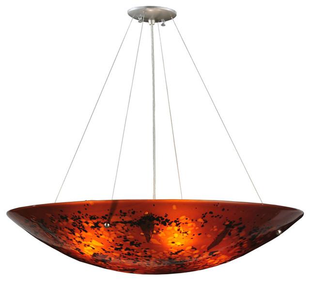 "Meyda Lighting 115012 30""W The Rock Fused Glass Inverted Pendant traditional-pendant-lighting"