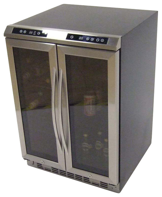 Side-by-side, Dual Zone Wine Cooler, Black Cabinet with Glass Door and Stainless traditional-beer-and-wine-refrigerators