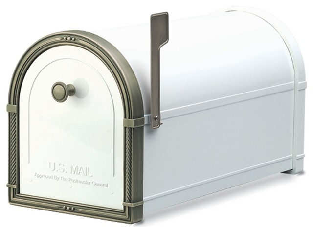 Coronado Post Mount Mailbox White with Antique Bronze Accents traditional-mailboxes
