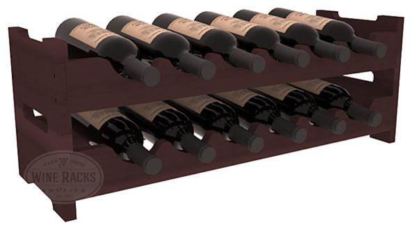 12 Bottle Mini Scalloped Wine Rack in Redwood, Walnut Stain contemporary-wine-racks