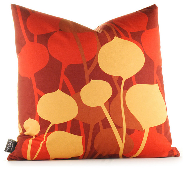 Inhabit Seedling Graphic Pillow - in Scarlet modern-decorative-pillows