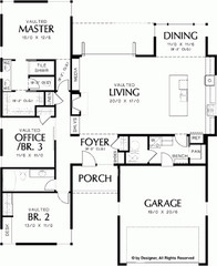 Contemporary-Modern House Plan with 1719 Square Feet and 3 Bedrooms(s) from Drea
