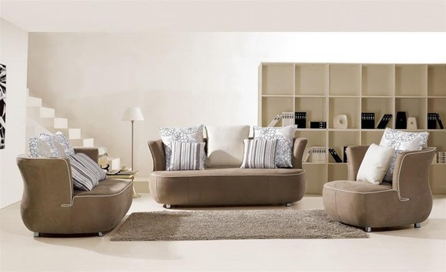 Casdon - Modern Dark Champagne Leather Sofa Set modern-sofas