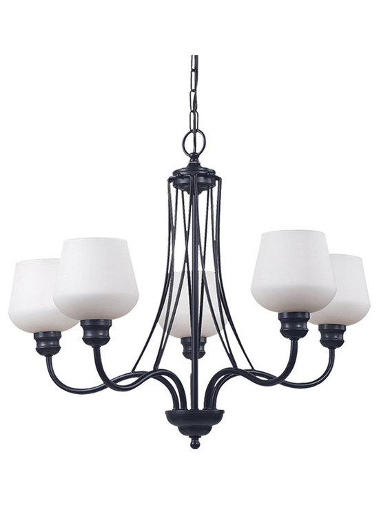 Royce Lighting - Five Light Chandelier Architectural Bronze Energy Star - Product Description:-
