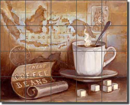Ceramic tile mural backsplash kasun kitchen coffee art 21 for Artwork on tile ceramic mural
