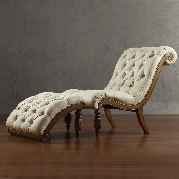 Bellagio beige linen button tufted curved chaise lounge for Bellagio button tufted leather brown chaise