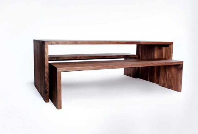 Nesting Dining Tables ~ Nesting dining table and benches