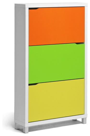 Simms Modern Shoe Cabinet, Green, Orange, and Yellow - Modern - Shoe ...