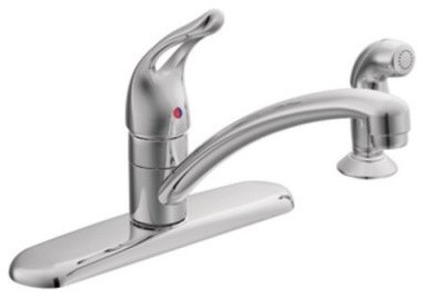 Moen Chateau 7460 Single Loop Handle Kitchen Faucet with Side Spray - Chrome modern-kitchen-faucets