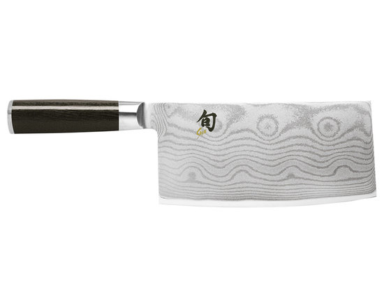 """Shun - Kershaw KAI Shun Classic Chinese Chef's Knife 7.75"""" Blade - The handles are black laminated wood. Fit and finish are first class."""