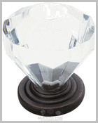 Clear Crystal Knob in Oil Rubbed Bronze traditional-knobs