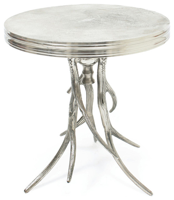 Vail Modern Rustic Polished Silver Antler Horn Side Table traditional-side-tables-and-end-tables