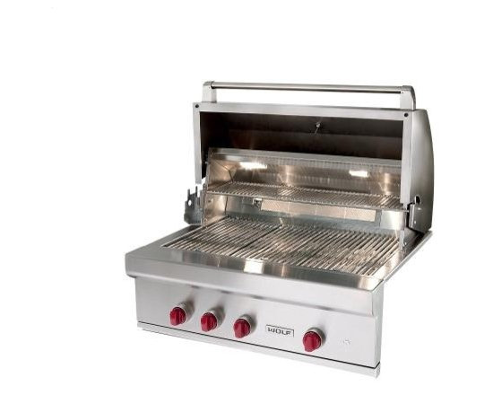 """Wolf 36"""" Outdoor Grill - This is the 36"""" Wolf grill.  It has stainless steel grates, hot surface ignition, a 25,000 BTU sear zone, interior lighting, LED lit knobs, and an easy to lift hood.  This grill has everything you need to grill with confidence."""