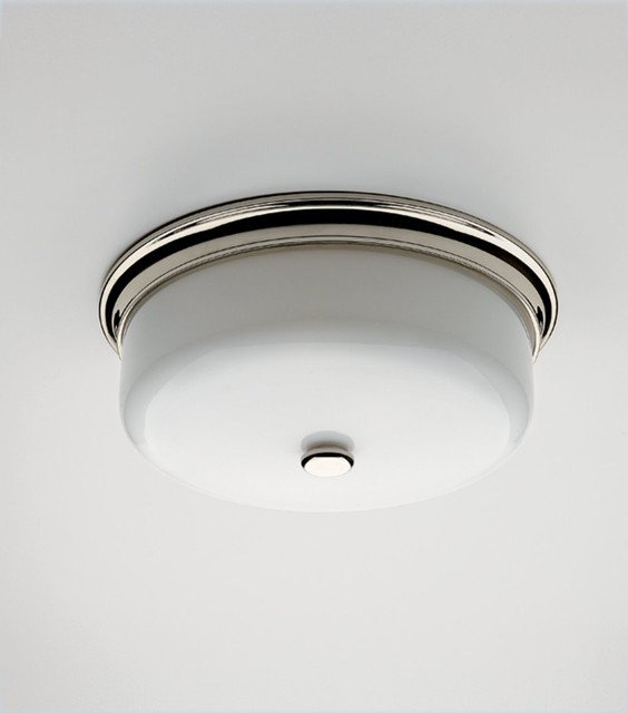Round Ceiling Mounted Lighting with White Glass Shade - Traditional - Bathroom Vanity Lighting ...