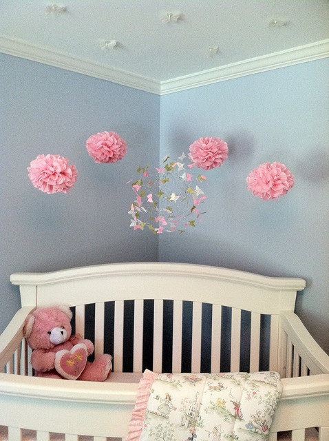 Nursery decor with butterfly mobiles modern nursery for Baby cot decoration ideas