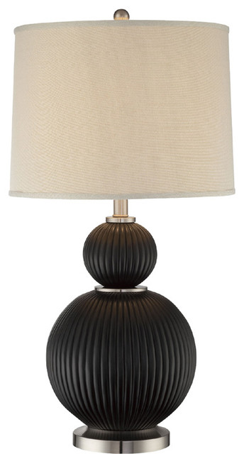 Table Lamp - Dark Walnut Finished/Fabric Shade traditional-table-lamps